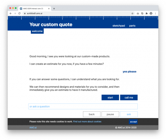 AMO engages your customer reflecting previous pages visited